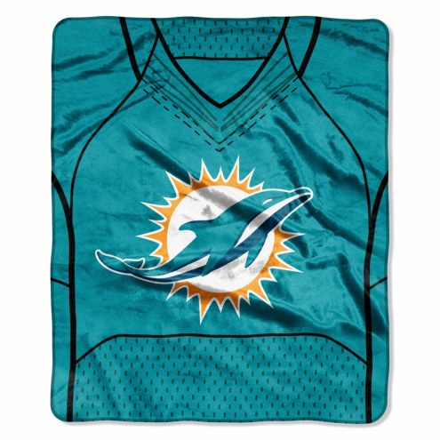 Miami Dolphins Jersey Raschel Throw Blanket