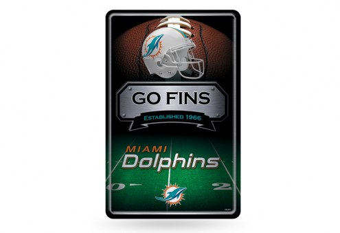 Miami Dolphins Large Embossed Metal Wall Sign