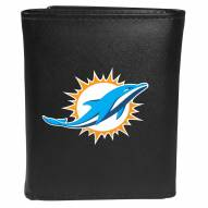 Miami Dolphins Large Logo Leather Tri-fold Wallet
