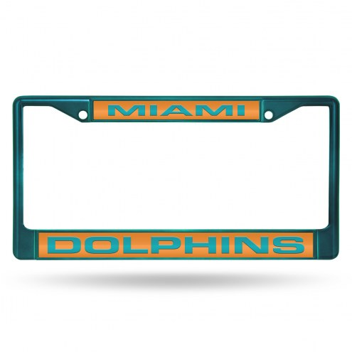 Miami Dolphins Laser Colored Chrome License Plate Frame