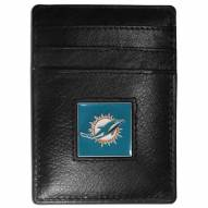 Miami Dolphins Leather Money Clip/Cardholder in Gift Box