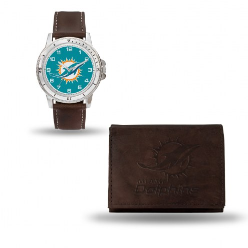 Miami Dolphins Men's Niles Watch & Wallet Set