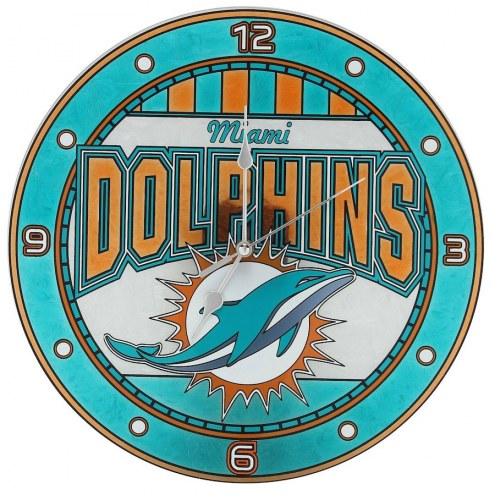 Miami Dolphins NFL Stained Glass Wall Clock