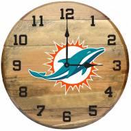 Miami Dolphins Oak Barrel Clock