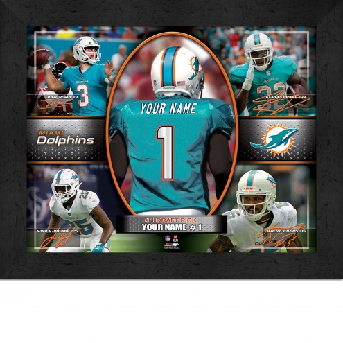 Miami Dolphins Personalized 11 x 14 Framed Action Collage