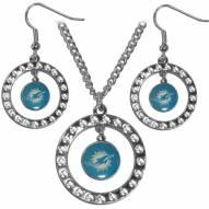 Miami Dolphins Rhinestone Hoop Jewelry Set