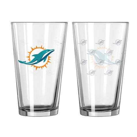 Miami Dolphins Satin Etch Pint Glass - Set of 2