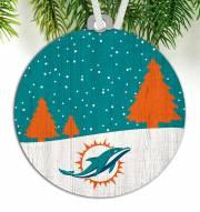 Miami Dolphins Snow Scene Ornament