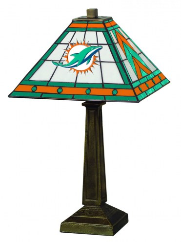 Miami Dolphins Stained Glass Mission Table Lamp