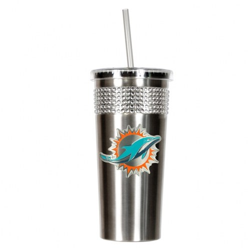 Miami Dolphins Stainless Steel Bling Tumbler with Straw