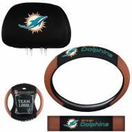 Miami Dolphins Steering Wheel & Headrest Cover Set