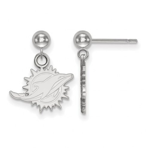 Miami Dolphins Sterling Silver Dangle Ball Earrings