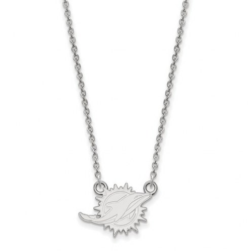 Miami Dolphins Sterling Silver Small Pendant with Necklace