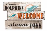 Miami Dolphins Welcome 3 Plank Sign