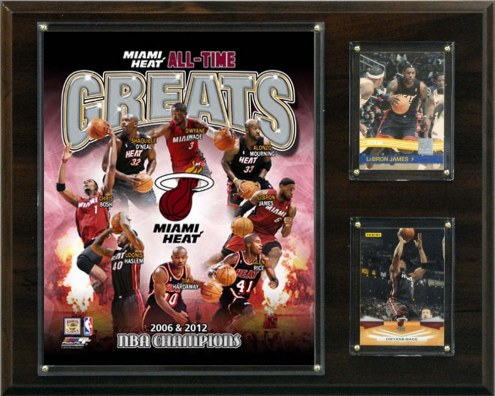"""Miami Heat 12"""" x 15"""" All-Time Great Photo Plaque"""