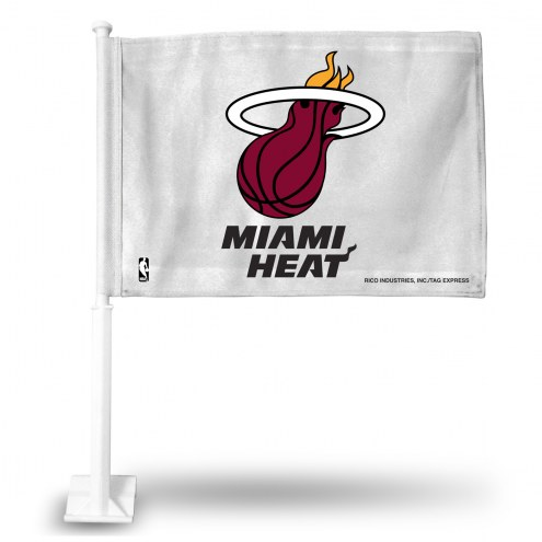 Miami Heat White Car Flag