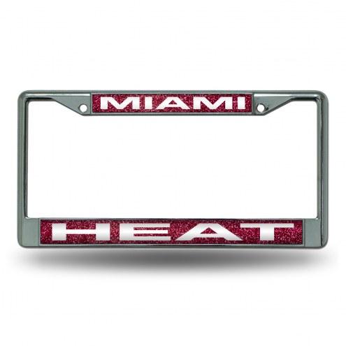 Miami Heat Chrome Glitter License Plate Frame