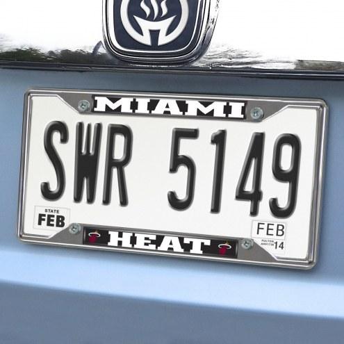 Miami Heat Chrome Metal License Plate Frame