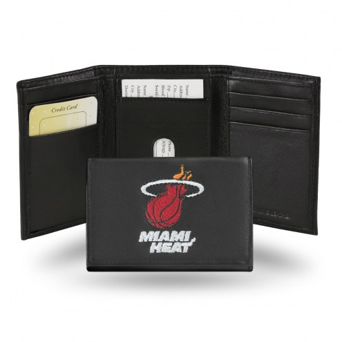 Miami Heat Embroidered Leather Tri-Fold Wallet