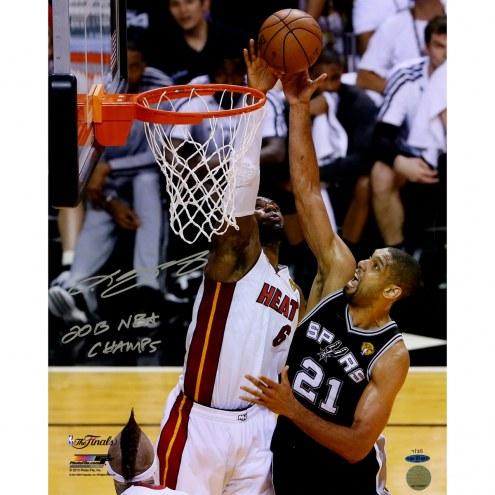 "Miami Heat LeBron James 2013 Finals Blocking Duncan w/ ""2013 NBA Champ"" Signed 16"" x 20"" Photo"