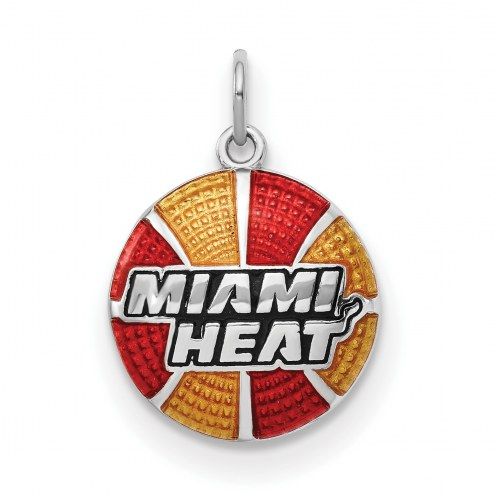 Miami Heat Sterling Silver Enameled Basketball Pendant