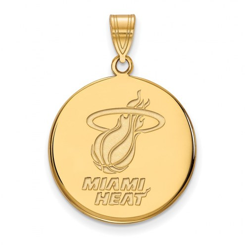 Miami Heat Sterling Silver Gold Plated Large Disc Pendant