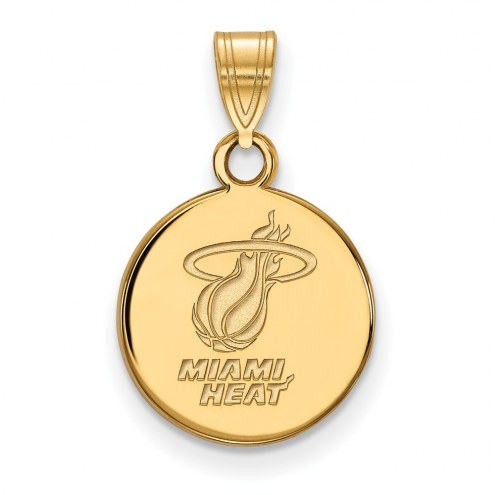 Miami Heat Sterling Silver Gold Plated Small Disc Pendant