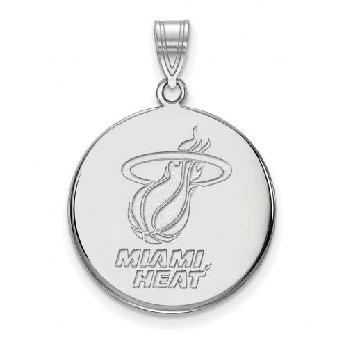 Miami Heat Sterling Silver Large Disc Pendant