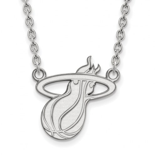 Miami Heat Sterling Silver Large Pendant Necklace