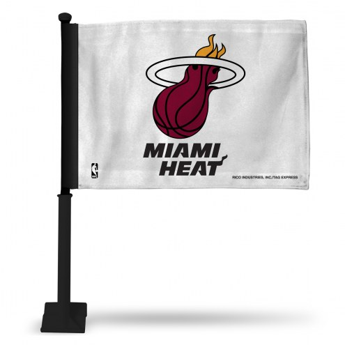 Miami Heat White Car Flag with Black Pole