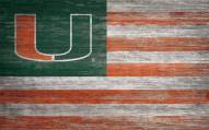 "Miami Hurricanes 11"" x 19"" Distressed Flag Sign"