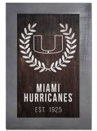 "Miami Hurricanes 11"" x 19"" Laurel Wreath Framed Sign"