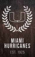 "Miami Hurricanes 11"" x 19"" Laurel Wreath Sign"