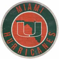 "Miami Hurricanes 12"" Circle with State Sign"