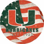 "Miami Hurricanes 12"" Team Color Flag Circle Sign"