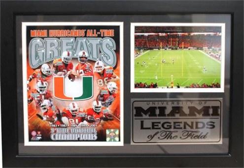 "Miami Hurricanes 12"" x 18"" Greats Photo Stat Frame"