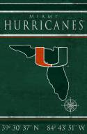"Miami Hurricanes 17"" x 26"" Coordinates Sign"