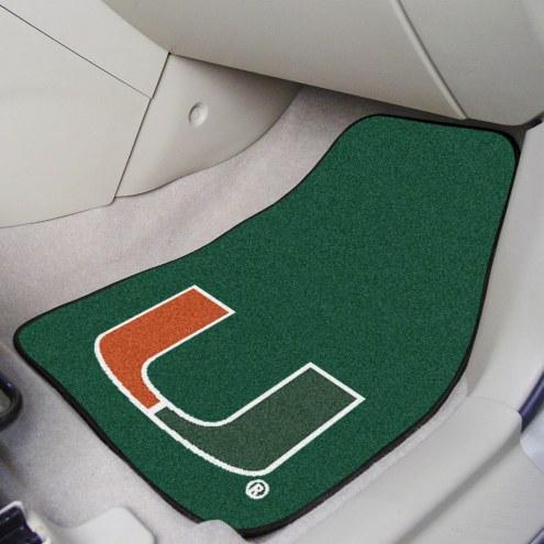 Miami Hurricanes 2-Piece Carpet Car Mats
