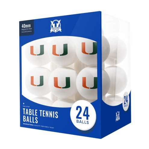 Miami Hurricanes 24 Count Ping Pong Balls