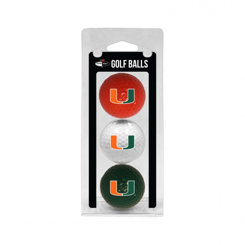 Miami Hurricanes 3 Pack of Golf Balls