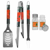 Miami Hurricanes 3 Piece Tailgater BBQ Set and Salt and Pepper Shakers