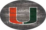 "Miami Hurricanes 46"" Distressed Wood Oval Sign"