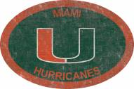 "Miami Hurricanes 46"" Team Color Oval Sign"
