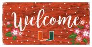 "Miami Hurricanes 6"" x 12"" Floral Welcome Sign"