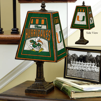 Miami Hurricanes Art Glass Table Lamp