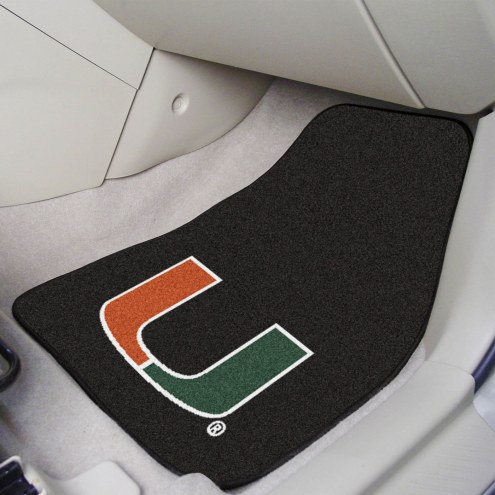 Miami Hurricanes Black 2-Piece Carpet Car Mats