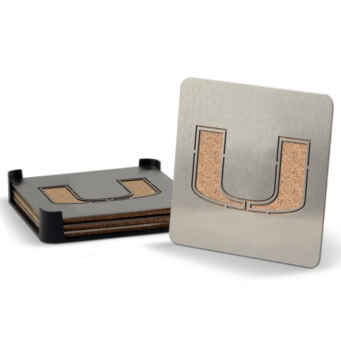 Miami Hurricanes Boasters Stainless Steel Coasters - Set of 4