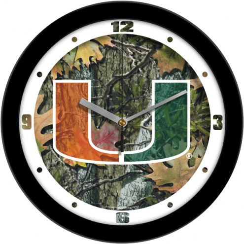 Miami Hurricanes Camo Wall Clock