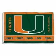 Miami Hurricanes Championship Years 3' x 5' Flag