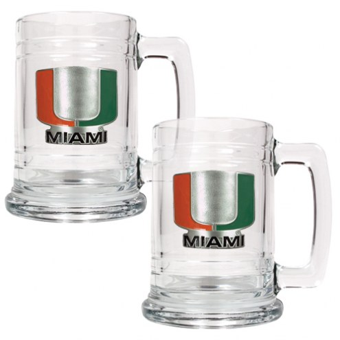 Miami Hurricanes College Glass Tankard Beer Mug 2-Piece Set